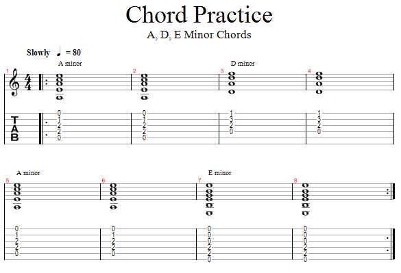 Guitar Lessons: A, D, & E Minor Chords, Backing Track