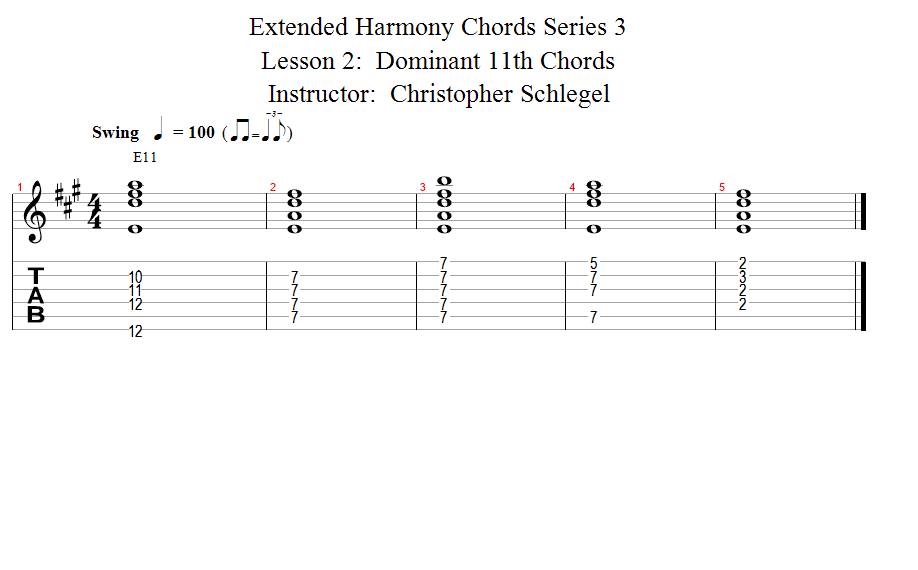 Guitar Lessons Dominant 11th Chords