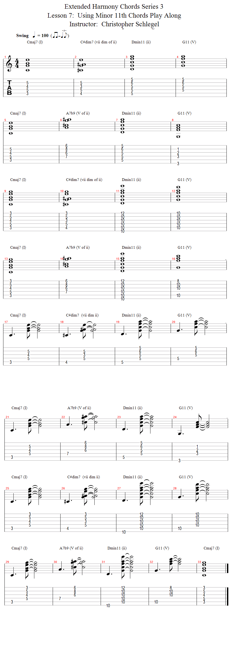Guitar Lessons E String Rooted Progression With 11th Chords