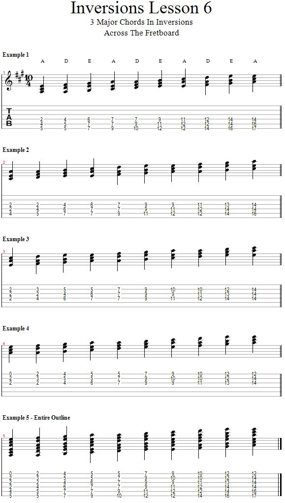 Guitar Lessons: Chord Inversions: Covering the Fretboard