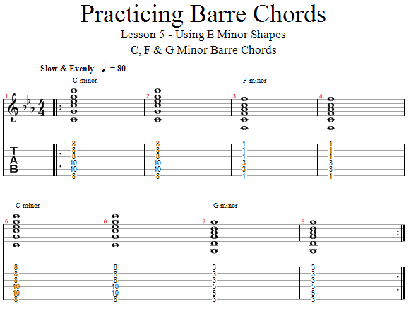 Guitar Lessons Play With E Minor Shaped Barre Chords