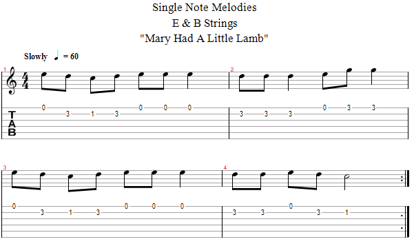 Guitar Lessons E B String Melody Mary Had Little Lamb