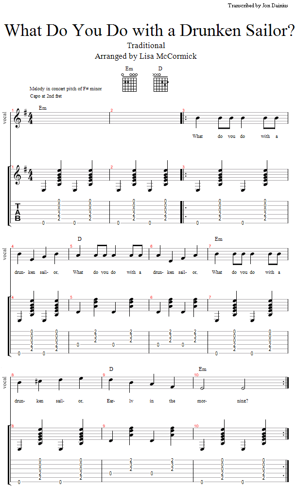 Guitar Lessons What Do You Do With A Drunken Sailor Prep And Practice