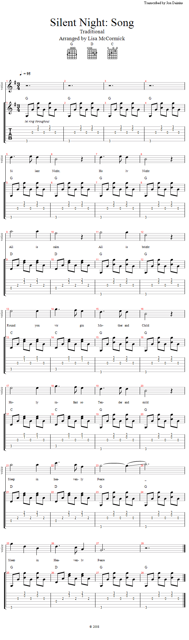 Guitar lessons silent night chords and fingerpicking lesson notation hexwebz Choice Image