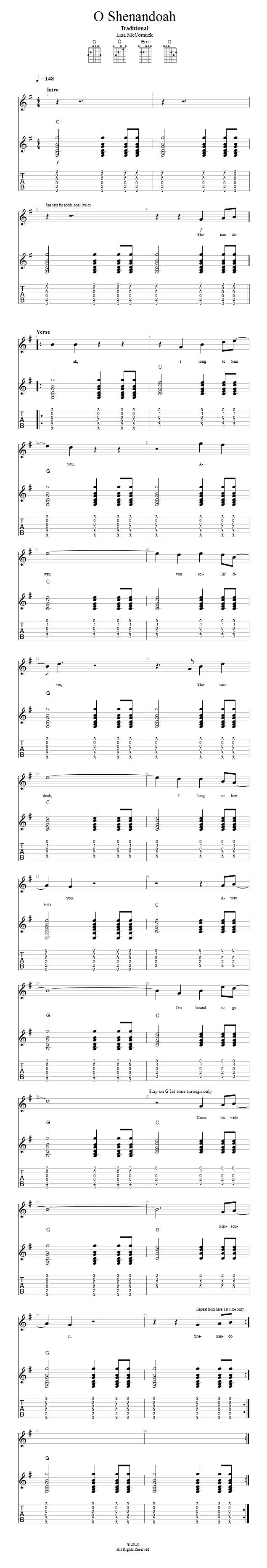Guitar Lessons O Shenandoah Song To Play