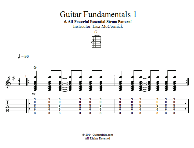 Guitar Lessons AllPowerful Essential Strum Pattern Simple Strum Patterns