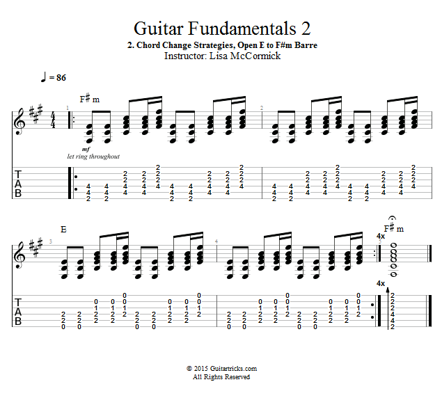 Guitar Lessons Barre Chord Change Strategies E To Fm