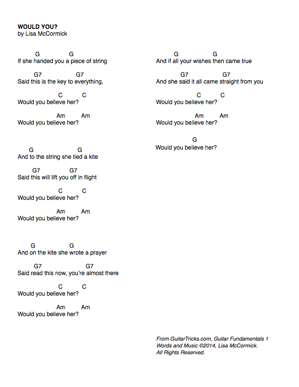 Guitar Lessons Learn The Song Would You