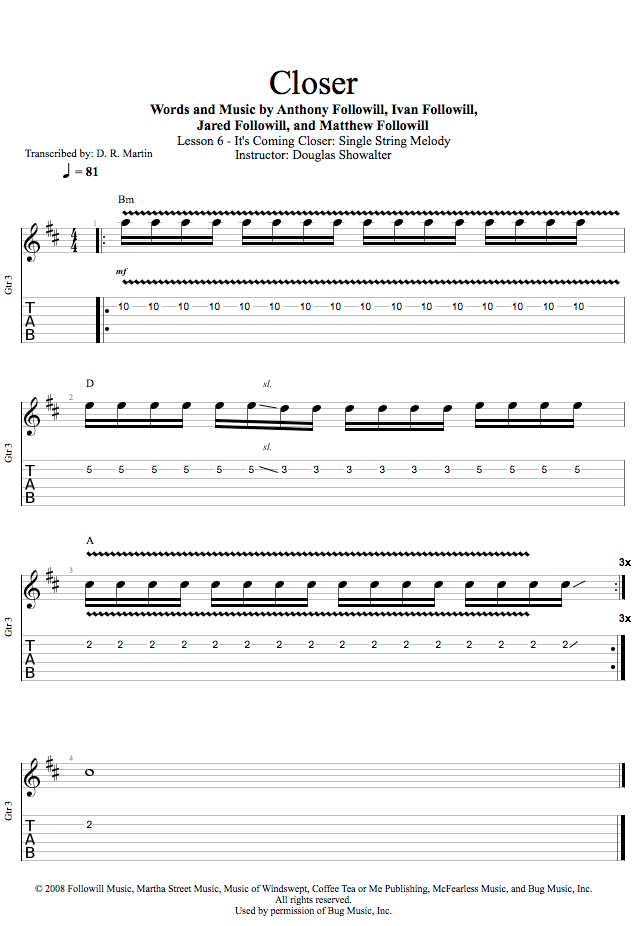 Guitar Lessons Its Coming Closer Single String Melody