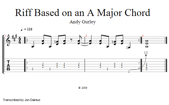 Guitar Lessons Riff Based On An A Major Chord