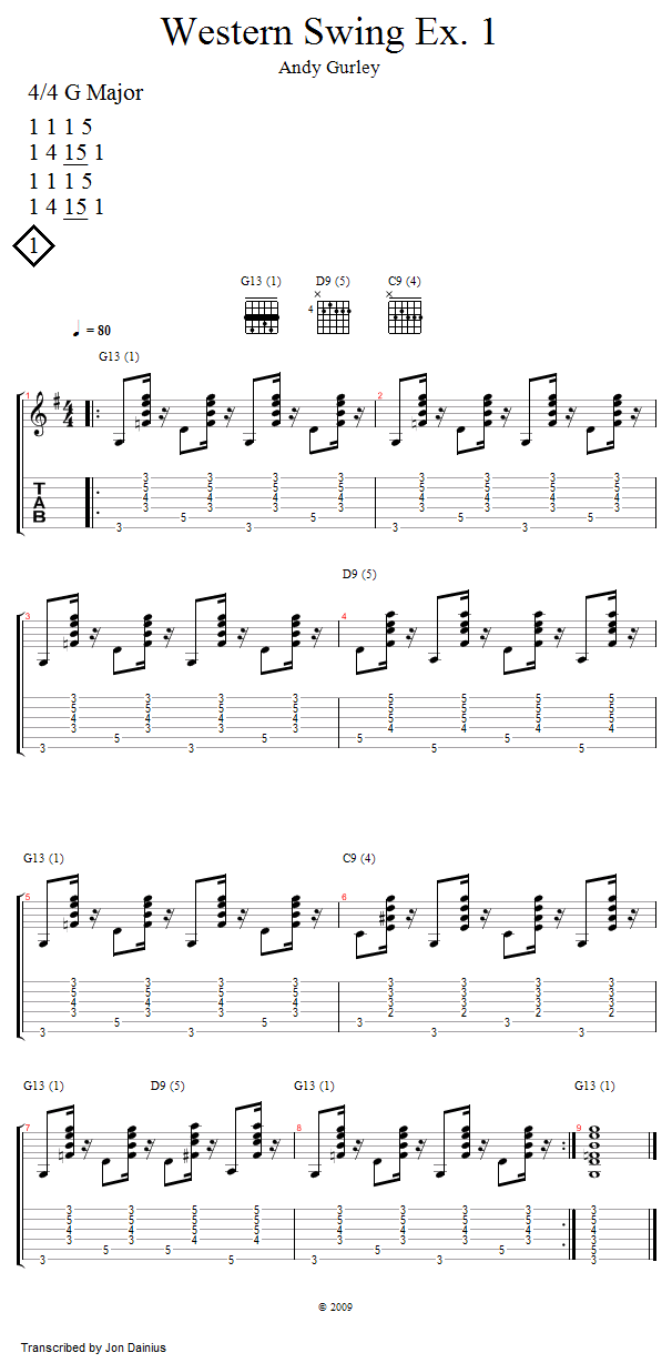 Guitar Lessons Western Swing Example 1