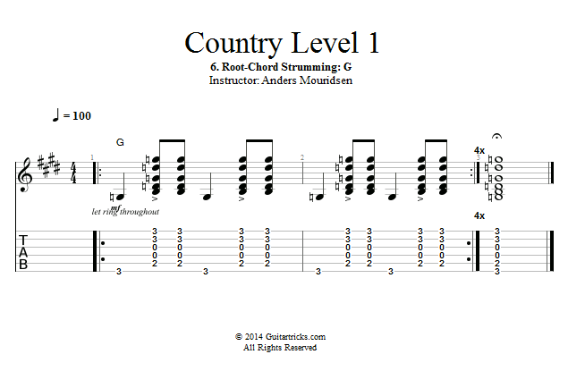 Guitar Lessons: Root-Chord Strumming: G