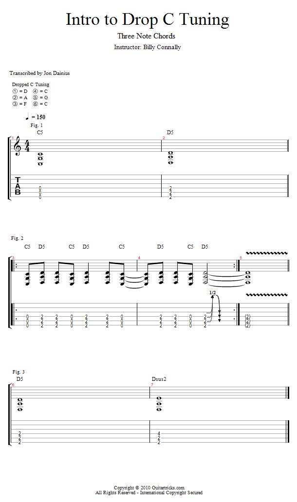 Guitar Lessons: Drop C: 3 Note Chords