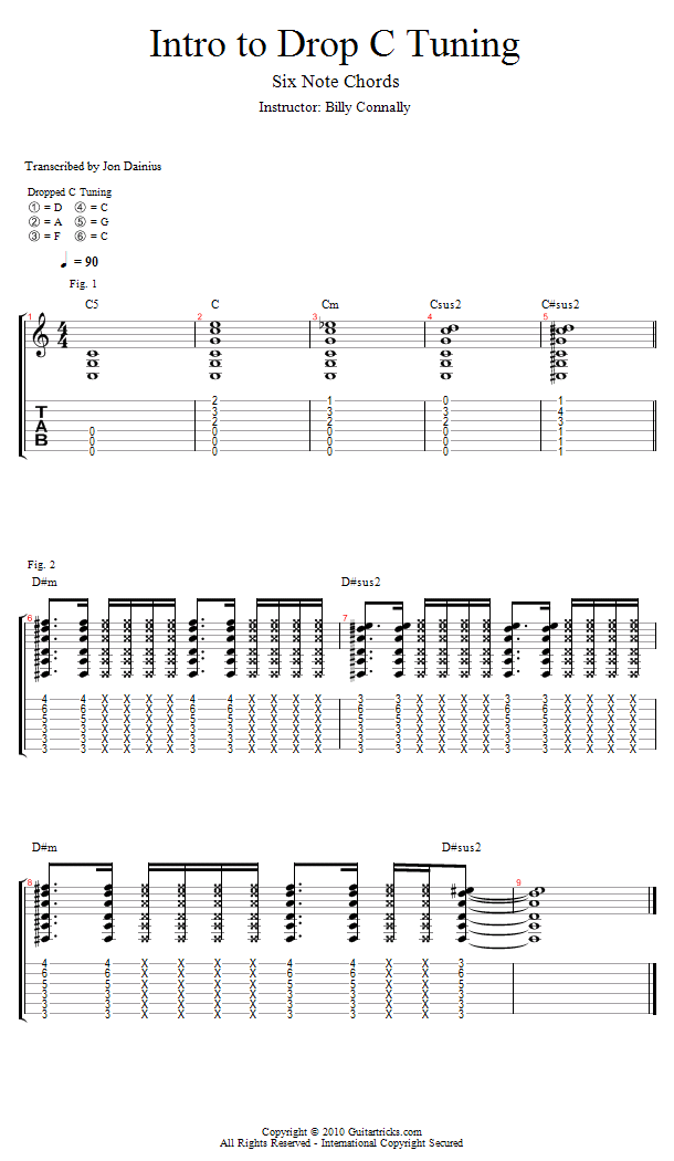 Guitar Lessons Drop C 6 Note Chords