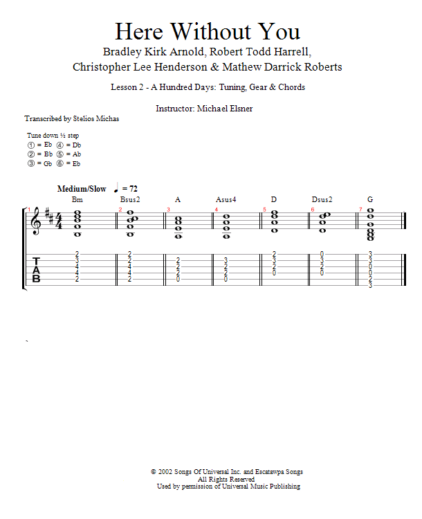 Guitar Lessons A Hundred Days Tuning Gear Chords