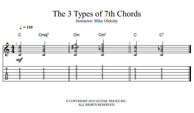 Guitar Lessons 3 Types Of 7th Chords