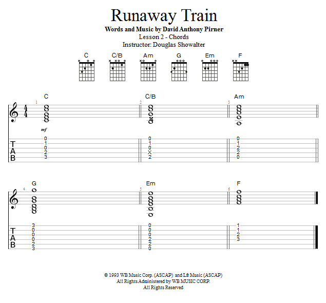 Guitar Lessons: Runaway Train: Chords