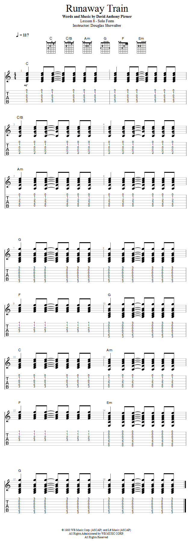Guitar Lessons Runaway Train Solo Form