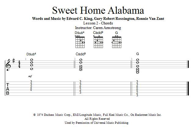 Guitar Lessons: Sweet Home Alabama: Chords