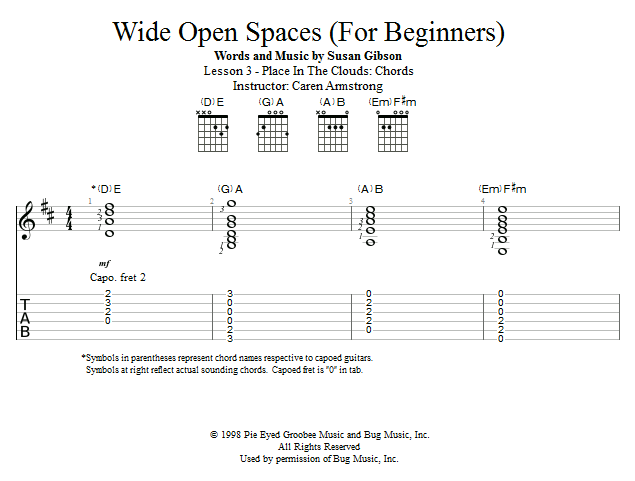 Guitar Lessons Place In The Clouds Chords