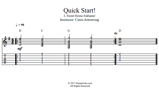 how to play sweet home alabama on guitar easy