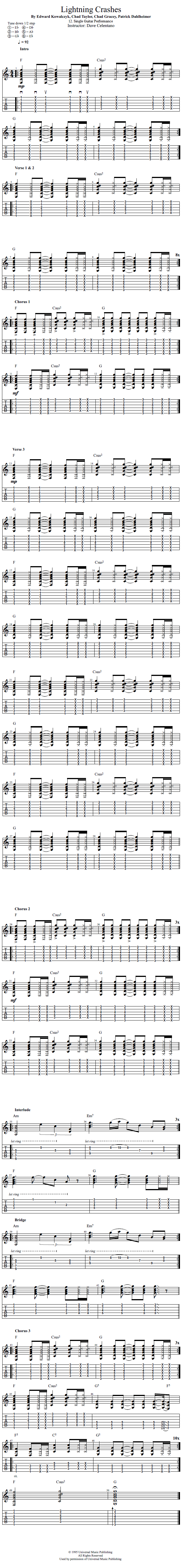Guitar Lessons Lightning Crashes For Single Guitar